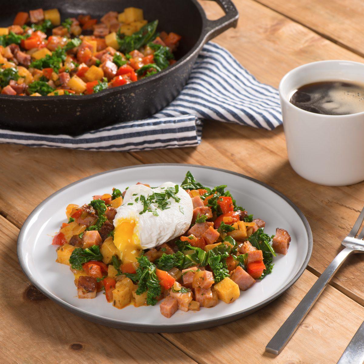 Breakfast Hash with Ham Potatoes and Kale